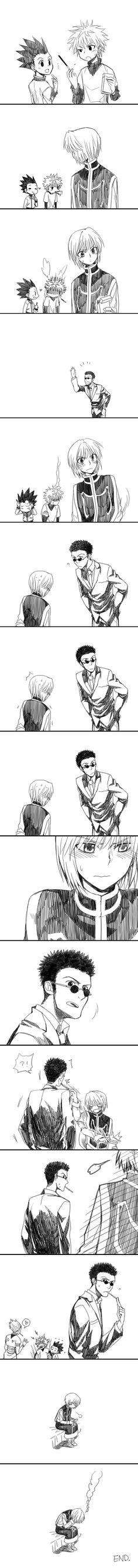 Aww Kurapika, but Hisoka in the background    Ahhhhh I loved this anime so much!!!!! #HunterXHunter (if u were wondering the name)