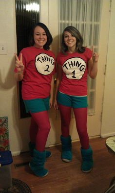 My friend and I decided to be Thing 1 and Thing 2 for Halloween 2011. Costume is pretty simple, but cute.  Tried to dye our hair with blue hairspray (kind of worked, but it makes your hair really stiff, so try avoid touching your head...).  It was either that or buy a 50 dollar wig, no thanks! You can easily purchase these shirts online.  Bought the blue shirts from Kohls, the blue slippers from Gordmans, and I think we got the red tights from Frederick's.