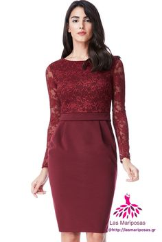 Alba Midi Μπορντό δαντελένιο φόρεμα Dresses With Sleeves, Lace Dresses, Peplum Dress, Long Sleeve, Fashion, Moda, Lacy Dresses, Full Sleeves, Fashion Styles