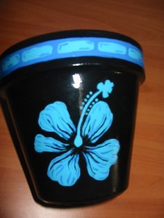 Hand painted Hibiscus pot - my favorite flower