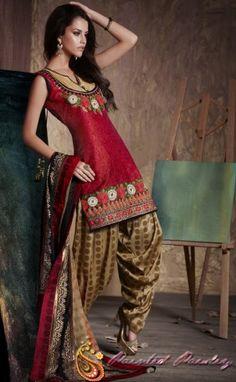 Red Jacquard Sleeveless Patiala Style Salwar Suit - Aloki - Painted Paisley