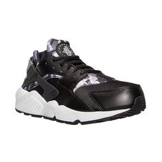 Women's Nike Air Huarache Run Print Running Shoes ($115) ❤ liked on Polyvore featuring shoes, athletic shoes, nike, pattern leather shoes, leather shoes, native american shoes and nike footwear