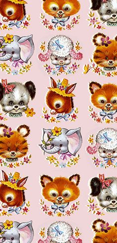 Sweet vintage animal gift wrap.