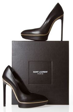 Saint Laurent Pointed Toe Platform Pumps - Black leather pump from saint laurent featuring a pointed toe, a leather covered platform, a contrasting gold-tone trim at the edges and a leather covered stiletto heel. .