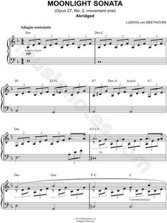 Print and download sheet music for Moonlight Sonata (Abridged) composed by Ludwig Van Beethoven. Sheet music arranged for Easy Piano in D Minor.