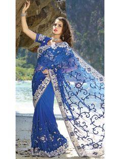 Utsav Fashion : shaded-blue-net-saree-with-blouse Wedding Sarees Online, Indian Sarees Online, Saree Wedding, Bridal Sarees, Bollywood Designer Sarees, Latest Designer Sarees, Net Saree, Georgette Sarees, Saree Shopping