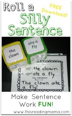 Roll a Silly Sentence for Writing Sentences with Who? and Did What? ~ FREE Download | This Reading Mama