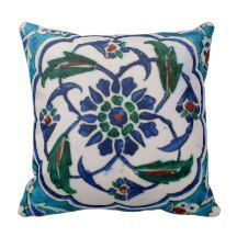 Blue and white floral Ottoman era tile design Pillow