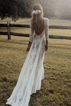 Wedding Dress Low Back, Long Sleeve Wedding, Long Wedding Dresses, Boho Wedding Dress, Gown Wedding, Lace Long Dresses, Dream Wedding, Bride Dresses, Mermaid Wedding