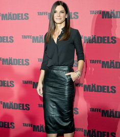 Sandra Bullock wearing a billowy Michael Kors blouse, an ASOS pencil skirt, and . Sandra Bullock wearing a billowy Michael Kors blouse, an ASOS p. Look Fashion, Trendy Fashion, Winter Fashion, Fashion Outfits, Womens Fashion, Fashion Trends, Fashion Black, Leather Fashion, Trendy Style