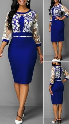 Royal Blue Back Slit Lace Patchwork Dress HOT SALE! Lace Dress Styles, African Lace Dresses, Latest African Fashion Dresses, Cute Dress Outfits, Casual Dresses, Fashion Looks, Fashion Fashion, Fashion Outfits, Fashion Women