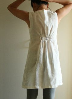 WOFFLE linen dress in white or black. women's clothing. spring, maternity. mothers day gift. handmade by pamelatang. $135.00, via Etsy.