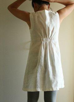 lovely gathering in back. linen dress by PAMELATANG