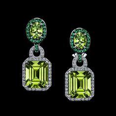 Robert PROCOP - Parisian Collection - Peridot Deco Earrings- Peridots are framed with Diamond and Tsavorites