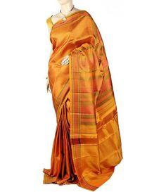 Orange Molakalmuru Handloom Pure Silk Saree