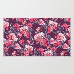 Peony Area & Throw Rug #peony #flowers #botanical #fashion