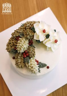 New cake featuring a pine cone Christmas cake Alice.