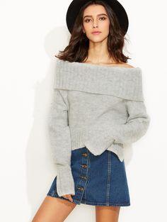 Grey Fold Over Off The Shoulder Slit Sweater | MakeMeChic.COM