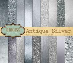 Silver Textures Digital Paper by Origins Digital Curio on @creativemarket