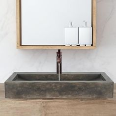 Toxey Rectangular Cast Concrete Vessel Sink - Natural – Magnus Home Products Bathroom Layout, Bathroom Colors, Bathroom Sets, Bathroom Inspo, Small Bathroom, Zen Bathroom, Tile Layout, Beige Bathroom, Basement Bathroom