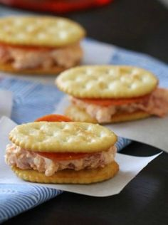 Creamy Double Pepperoni Pizza-wiches recipe. Turn pizza into an easy, fun appetizer with Town House crackers!