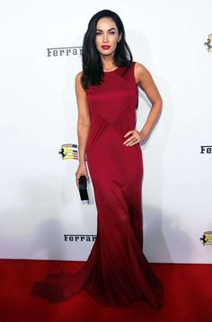 Megan Fox Wore Long Red Dress With Ferrari On the Red Carpet in Beverly Hills-01