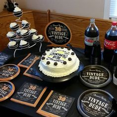 Surprise Party Ideas For A Man Cake Decorating Men Masculine Decor Birthday Dessert Table Vintage Inspired