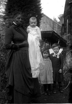 "1900s. She's so beautiful. How many unknown, unsung, women brought up others children aswell as their own throughout history. Sometimes in the most apalling situations with no rights no pay etc or worse deemed only a ""slave"". #The case for humanity the lack thereof"