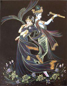 Krishna Radha Folk Painting Handmade Indian Hindu Religious Ethnic Decor Art