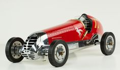 Spindizzies, also known as tether cars, were the boys' toys of the 1930s. Surprisingly sophisticated racecars in 1:8 scale raced tethered to a pole or to a chain track in a banked wooden racetrack, re