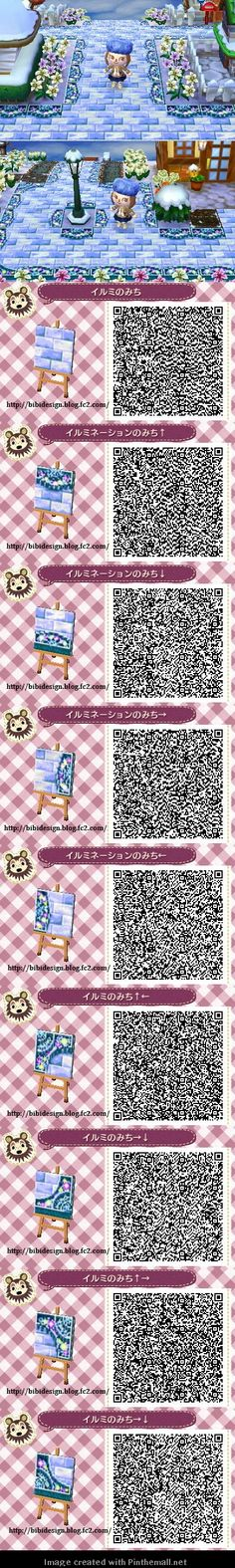 Animal Crossing New Leaf; QR Code, ACNL. Winter path QR code from bibi design