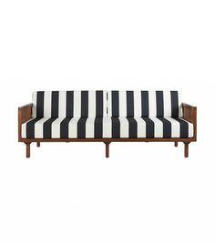 CB2 Tropez Black and White Stripe Sofa