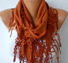 Burnt Umber Cotton  Scarf  Headband Necklace by fatwoman, $13.50