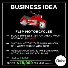 Got a good knowledge of bikes and an eye for picking out easy fixes? This one's a great way to work for yourself, doing something you enjoy. | | 💡Follow @businessideas365 for a new business idea every other day | | 📹 Subscribe on Youtube for more detailed ideas | #entrepreneur #makemoney #entrepreneurlife #money #business #youngentrepreneur #businessideas #motivation #hustle #motorcycle #bikelife #moto #bikersofinstagram Successful Business Tips, New Business Ideas, Business Sales, Business Opportunities, Business Marketing, Online Business, Business Money, Deep Meaningful Quotes, Quotes Inspirational