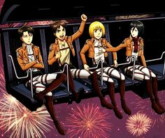 I love how Eren and Levi are next to each other. <<< I love how Mikasa looks so dejected that she isn't sitting next to Eren