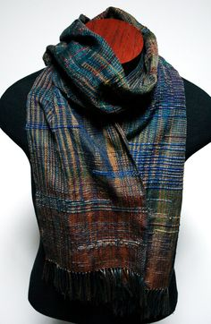 Saori Inspired Jewel Tone Scarf by eacrisman on Etsy, $88.00