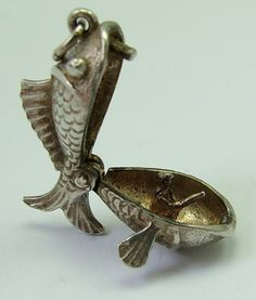 1960s English silver charm of a fish that opens to reveal a fisherman inside -28gbp