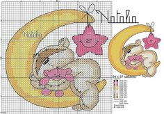 My Cross Stitch Gallery: G142 :: Fizzy Moon - Sleeping in the Moon (Blue/ Pink)