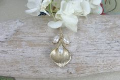 Calla Lilly Flower Necklace  Gold White by AlisonStorryJewelry, $28.00  #alisonstorrygiveaway