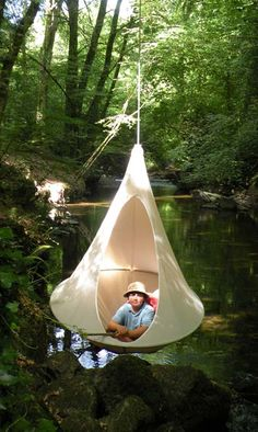 Um, I want one. It's like a hammock that's enclosed and hangs from a single point. woah.