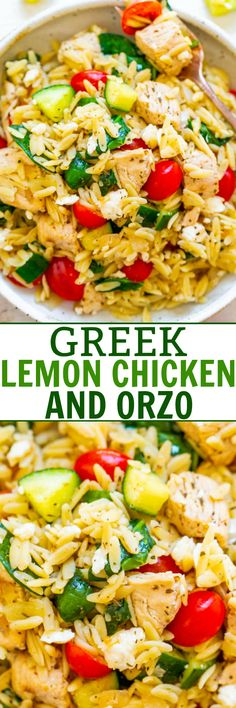 Greek Lemon Chicken and Orzo - EASY ready in 25 minutes and feeds a crowd! Juicy lemon chicken with orzo fresh spinach cucumbers and tomatoes make this a dinnertime WINNER! Great for parties picnics and potlucks! Orzo Recipes, New Recipes, Dinner Recipes, Cooking Recipes, Healthy Recipes, Salad Recipes, Recipies, Vegetarian Greek Recipes, Dinner Ideas