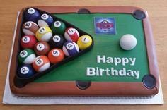 Billiards cake. Happy Birthday Boy, Birthday Cakes For Men, Cakes For Boys, Man Birthday, Pool Table Cake, Pool Cake, Cupcakes, Cupcake Cakes, Sport Cakes