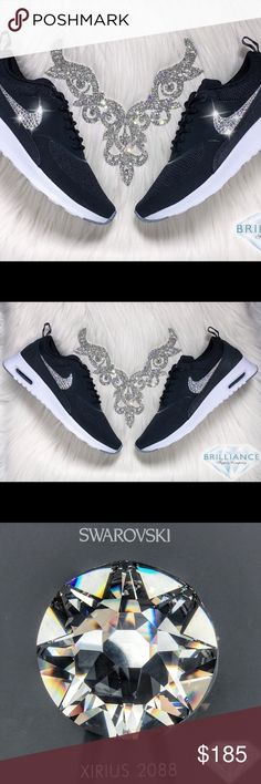 aaab119f99b8 Swarovski Nike Air Max Thea - Bling Nike Shoes Authentic Women s Nike Air  Max Thea Shoes In Black   White. Outer Logos Are Customized With HUNDREDS  Of The ...