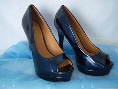 """Women's sz 7m High Heel Platform Peep Shoe Navy Dress Pump Shiney Sexy 5"""" heel #Delicious #OpenToeshoes #highheels"""