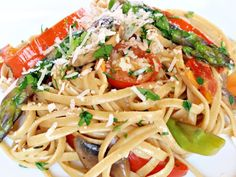 So, this is pasta primavera, round 2 (Click here to see round 1). Ellie Krieger vs. Giada de Laurentiis, who wins? Ellie's recipe contains more ingredients, sauteing of the veggies, and a sauce. Giada's recipe contains roasting the veggies and no sauce. I found that Giada's recipe was slightly easier since roasting takes virtually no effort and there was no sauce to worry about thickening. On the other hand, Ellie's recipe is healthier because of the whole wheat pasta. But I do have to…