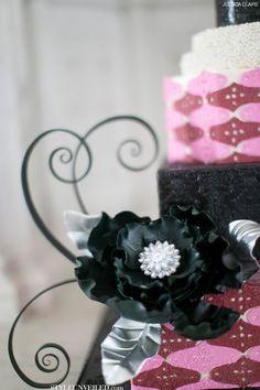 {Bridal Cakes} Whimsical Lavender & Burgundy Wedding Cake by Jessica Claire #bridal #wedding #cakes #weddingcake #spiral #flower