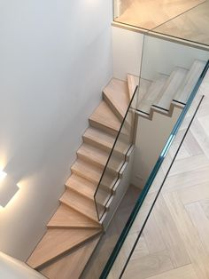 Minimal timber clad steel stair with glass balustrades PDP London Stair Railing Ideas balustrades clad Glass London Minimal PDP stair steel timber Glass Stair Balustrade, Timber Staircase, Staircase Railings, Wooden Stairs, Staircase Design, Spiral Staircase, Steel Stairs, Loft Stairs, House Stairs