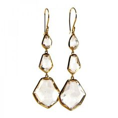 Pre-owned Ippolita 18K Yellow Gold Clear Quartz Modern Rock Candy Drop... ($1,400) ❤ liked on Polyvore featuring jewelry, earrings, accessories, gold jewelry, hook earrings, 18k earrings, 18 karat gold earrings and clear crystal earrings
