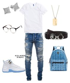 A fashion look from March 2017 featuring white t shirt, semi rimless glasses and backpack bags. Browse and shop related looks. Mens Casual Dress Outfits, Dope Outfits For Guys, Swag Outfits Men, Casual School Outfits, Stylish Mens Outfits, Fresh Outfits, Tomboy Outfits, Cool Outfits, Teen Boy Fashion