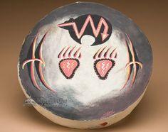 "Painted Native Tarahumara Drum 16"""" -Fetish Bear (pd54)"